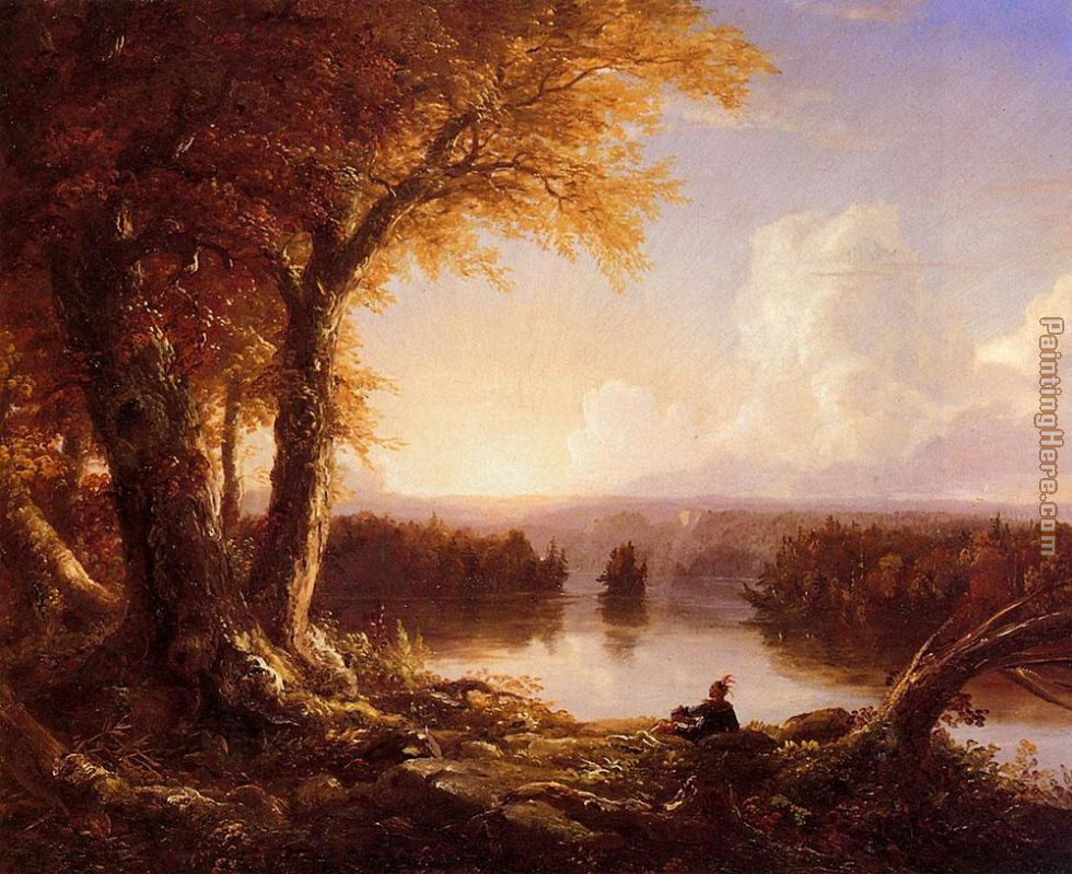 Indian at Sunset painting - Thomas Cole Indian at Sunset art painting